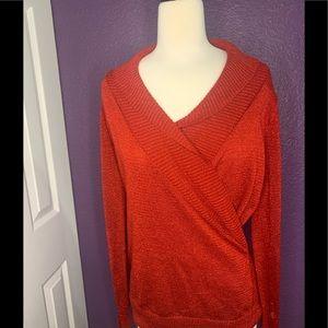 AB Studio Red Long Sleeve Sweater